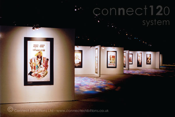 Museum Display System, Museum Display Systems in an exhibition marque opposite 'The Royal Albert Hall' in London, the panels created a temporary exhibition space for a film company event. (photographic prints)